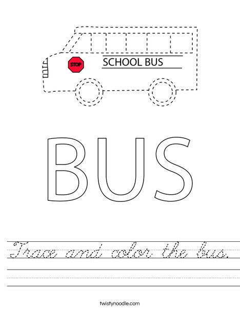 Trace and color the bus. Worksheet