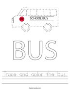 Trace and color the bus Handwriting Sheet