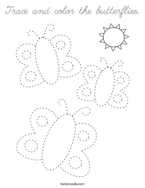 Trace and color the butterflies. Coloring Page