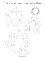 Trace and color the butterflies Coloring Page
