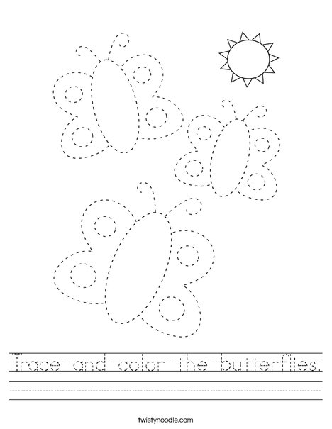 Trace and color the butterflies. Worksheet
