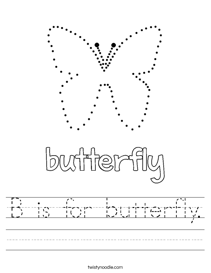 B is for butterfly. Worksheet