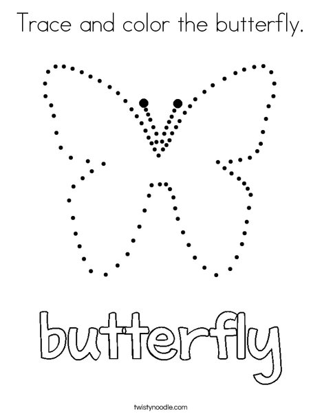 Trace and color the butterfly. Coloring Page