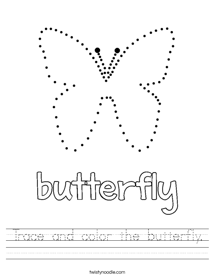 Trace and color the butterfly Worksheet Twisty Noodle – Butterfly Worksheet