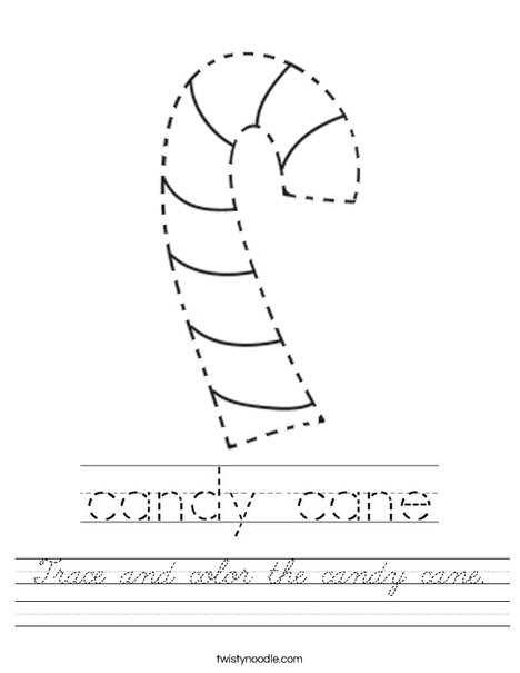 Trace and color the candy cane. Worksheet
