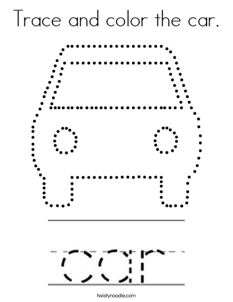 Trace and color the car. Coloring Page