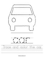 Trace and color the car Handwriting Sheet