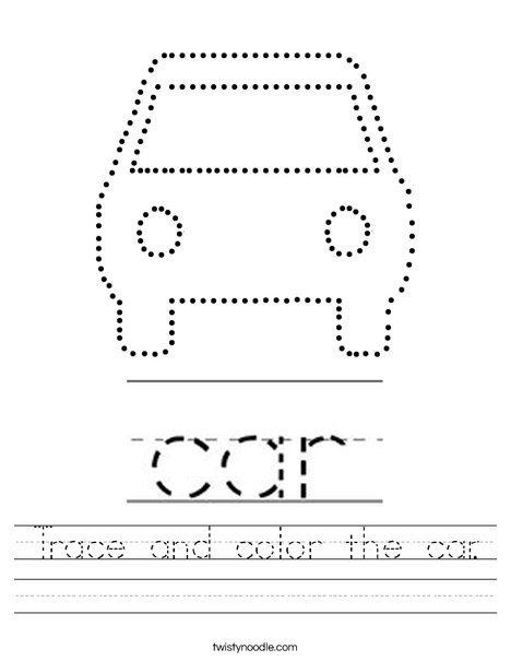 Trace and color the car. Worksheet