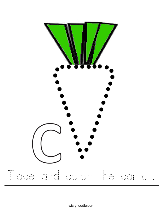 Trace and color the carrot. Worksheet