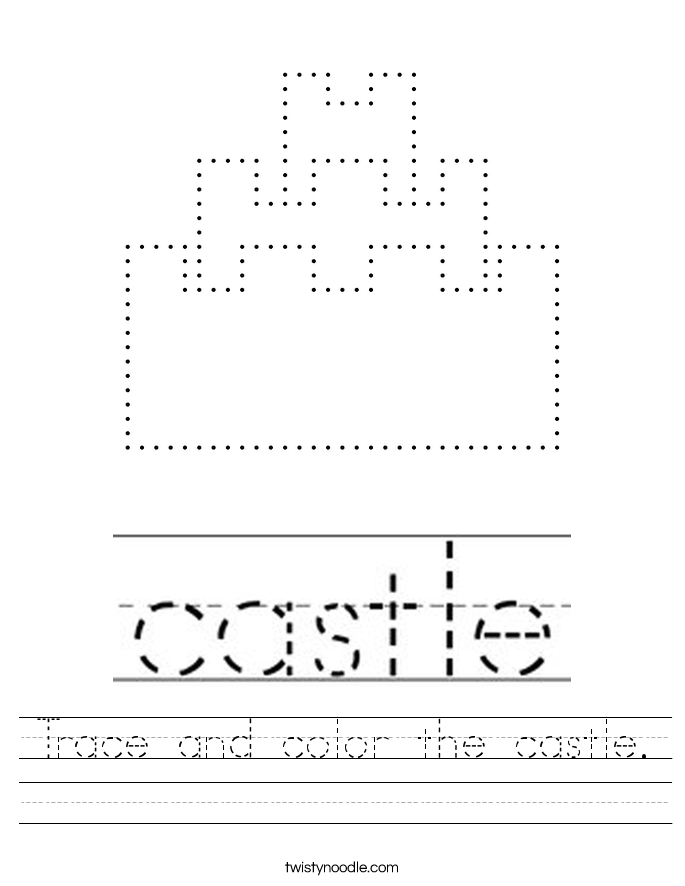 Trace and color the castle. Worksheet