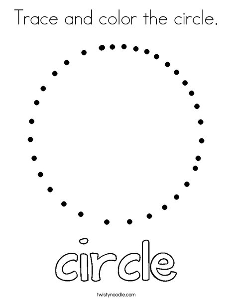Trace and color the circle Coloring Page - Twisty Noodle