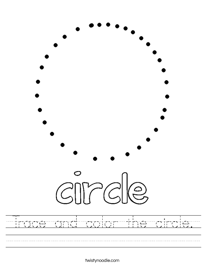 Trace and color the circle. Worksheet