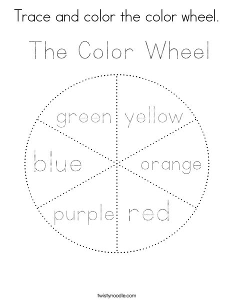 Trace and color the color wheel. Coloring Page