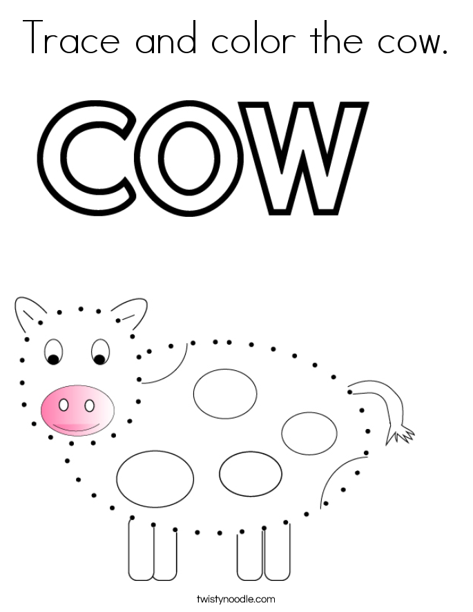 Trace and color the cow. Coloring Page
