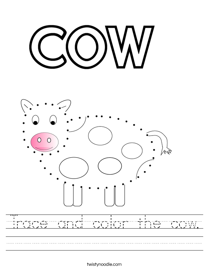 Trace and color the cow. Worksheet