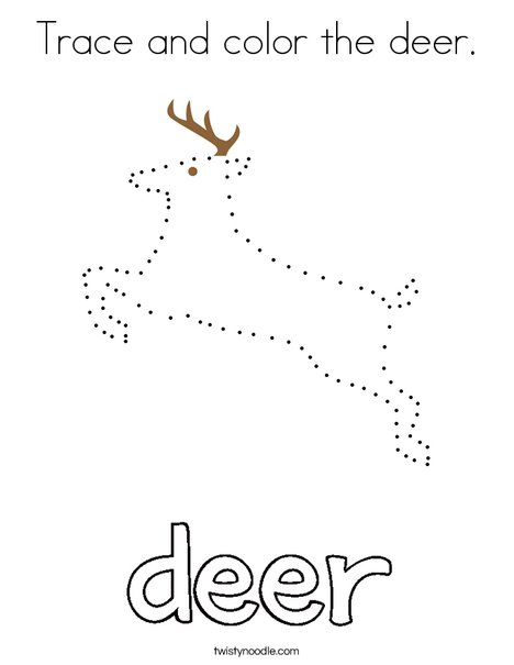 Trace and color the deer. Coloring Page