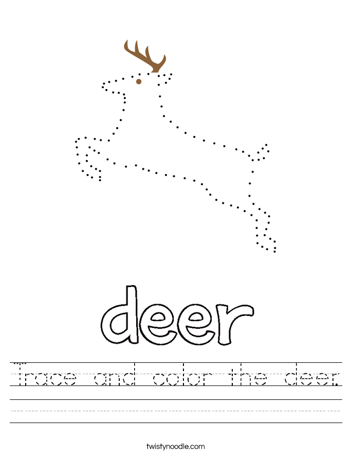 Trace and color the deer. Worksheet