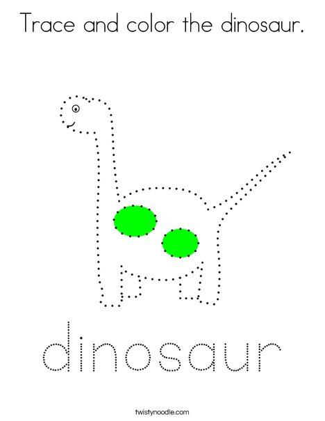 Trace and color the dinosaur. Coloring Page