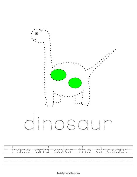 Trace and color the dinosaur. Worksheet