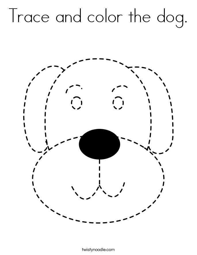 Trace and color the dog. Coloring Page