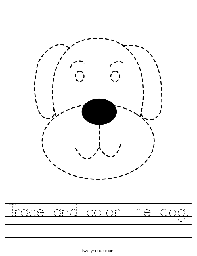 Trace and color the dog. Worksheet
