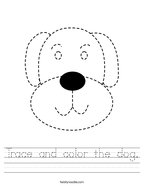 Trace and color the dog Handwriting Sheet