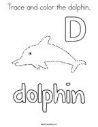 Trace and color the dolphin Coloring Page