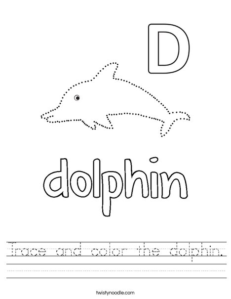 Trace and color the dolphin. Worksheet