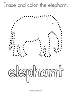 Trace and color the elephant Coloring Page