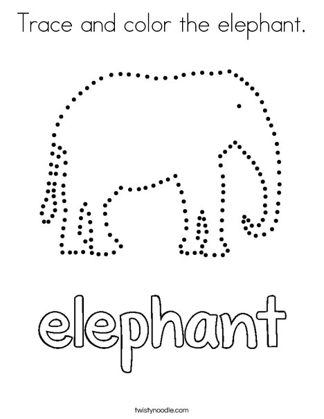 Trace and color the elephant. Coloring Page