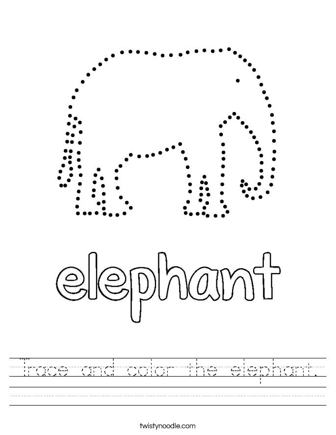 Trace and color the elephant. Worksheet