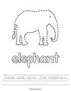 Trace and color the elephant Handwriting Sheet