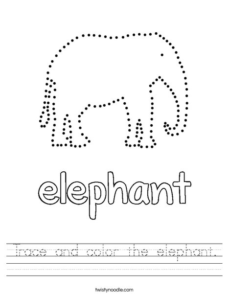 Trace and color the elephant Worksheet