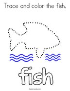 Trace and color the fish Coloring Page