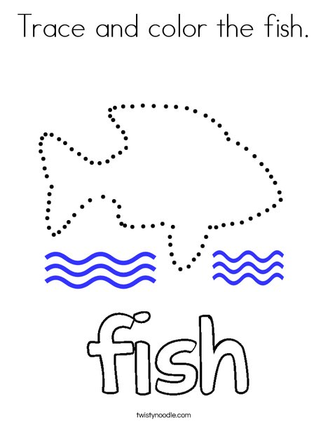 Trace and color the fish. Coloring Page