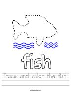 Trace and color the fish Handwriting Sheet