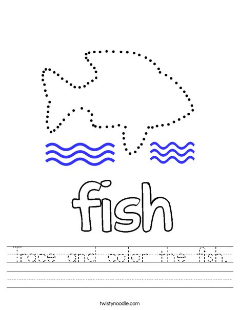 Trace and color the fish. Worksheet
