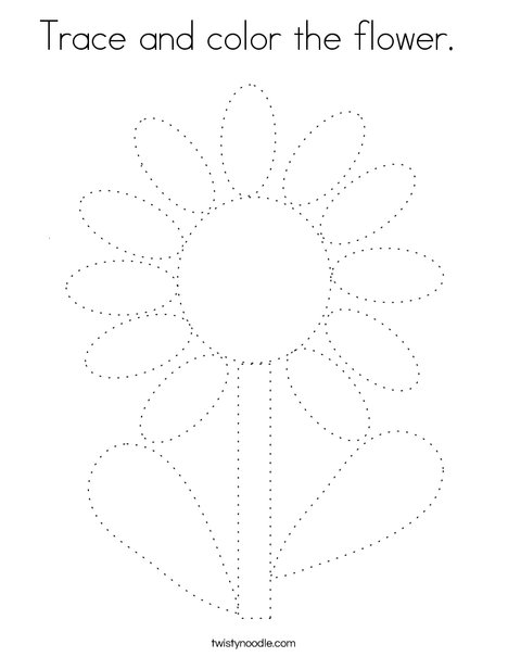 Trace and color the flower. Coloring Page