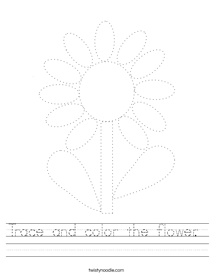 Trace and color the flower.  Worksheet