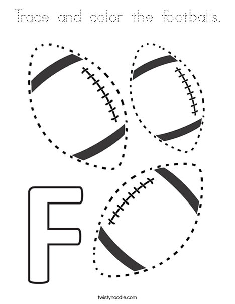 Trace and color the footballs. Coloring Page