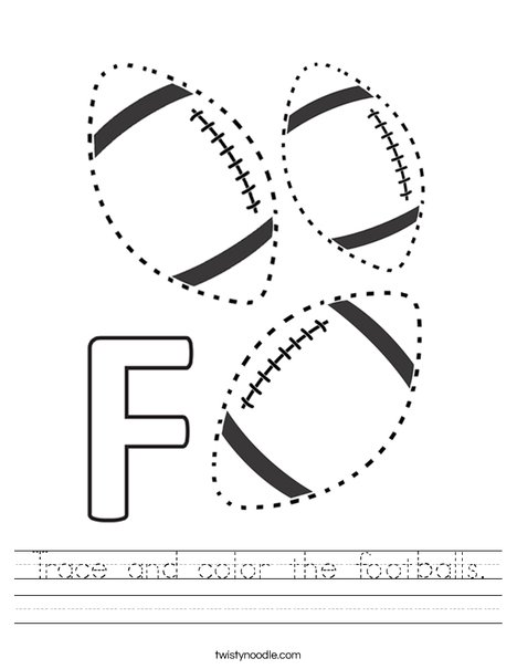 Trace and color the footballs. Worksheet