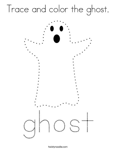 Trace and color the ghost. Coloring Page