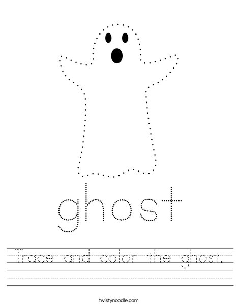 Trace and color the ghost. Worksheet