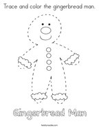 Trace and color the gingerbread man Coloring Page