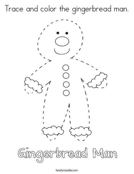 trace and color the gingerbread man coloring page - Gingerbread Man Color Page