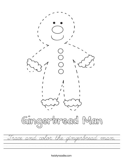Trace and color the gingerbread man Worksheet - Cursive ...