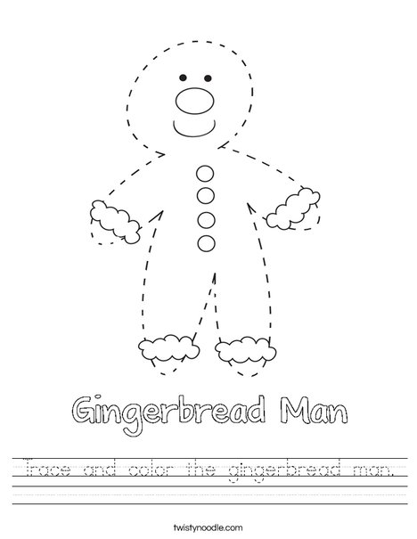 Trace and color the gingerbread man. Worksheet