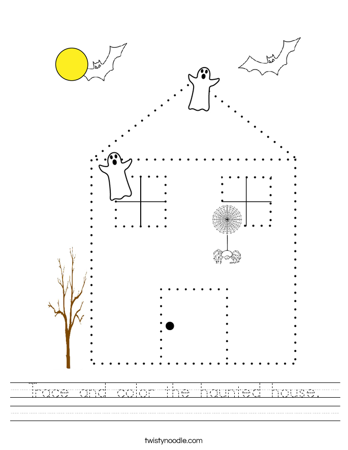 Trace and color the haunted house. Worksheet