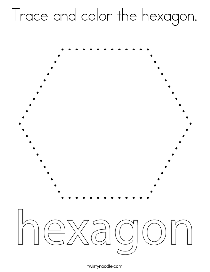 Trace and color the hexagon Coloring Page - Twisty Noodle