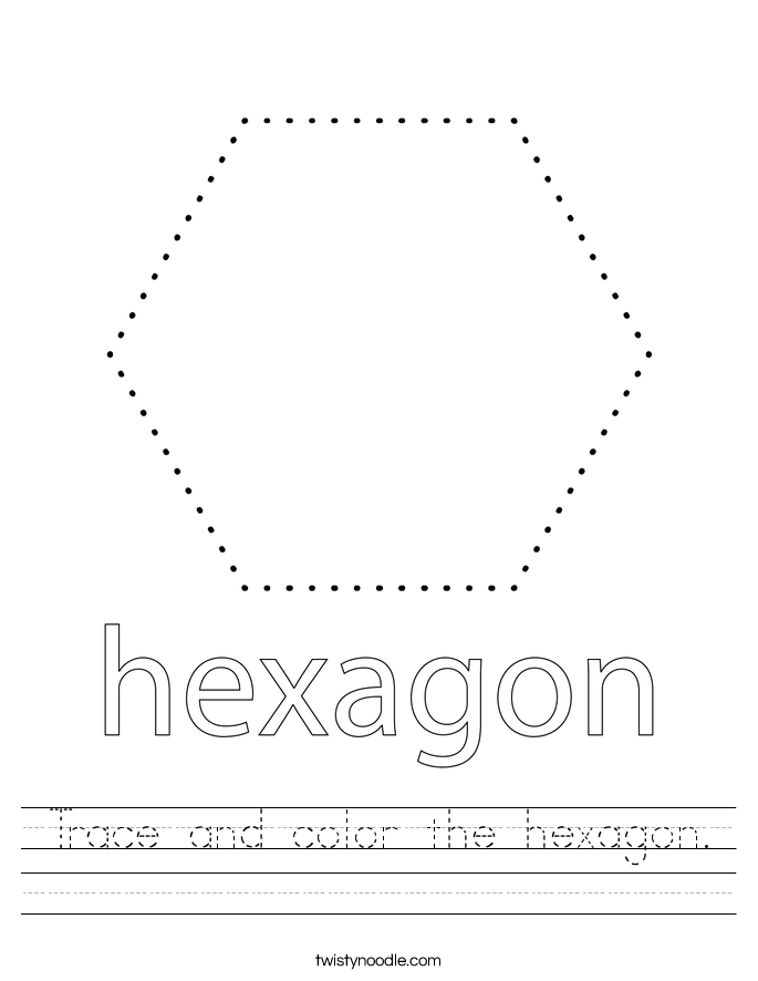 Trace and color the hexagon. Worksheet